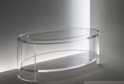 Ovaler Acrylglas Couchtisch